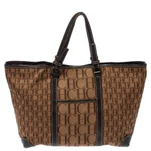 Carolina Herrera Brown Canvas and Leather Monogram Shopper Tote