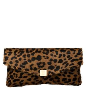 Carolina Herrera Brown Leopard Print Calf Hair Envelope Clutch