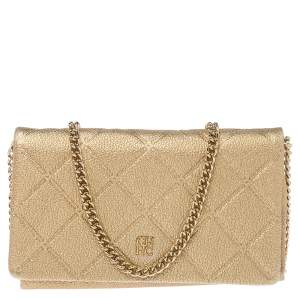 Carolina Herrera Metallic Gold Quilted Leather Flap Chain Shoulder Bag