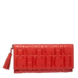 Carolina Herrera Red Monogram Leather American Flap Wallet