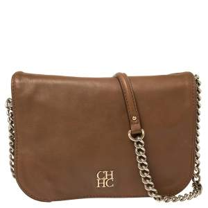 Carolina Herrera Brown Leather Flap Shoulder Bag