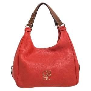Carolina Herrera Red Grain Leather Hobo