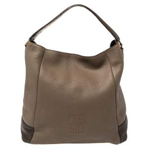 Carolina Herrera Two Tone Brown Pebbled Leather Hobo