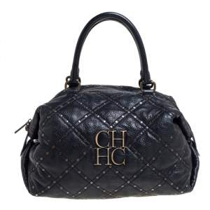 Carolina Herrera Black Quilted Leather Rivet Satchel