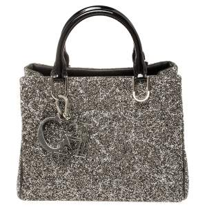 CH Carolina Herrera Silver/Black Patent Leather Crystal Embellished Mini Duchess Tote