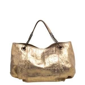 Carolina Herrera Gold Monogram Embossed Leather Chain Handle Tote