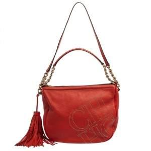 Carolina Herrera Red Studded Logo Leather Tassel Shoulder Bag
