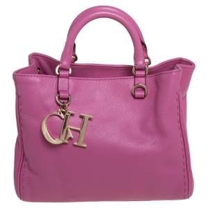 Carolina Herrera Pink Leather Charm Tote