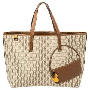 Carolina Herrera Brown/Beige Monogram Canvas and Leather Tote