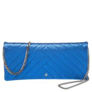 Carolina Herrera Metallic Blue Quilted Leather Chain Clutch