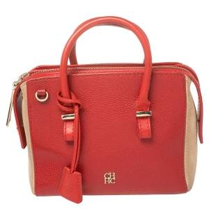 Carolina Herrera Red/Beige Leather and Nubuck Small Satchel