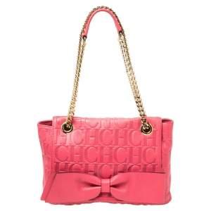 Carolina Herrera Neon Pink Monogram Leather Audrey Shoulder Bag