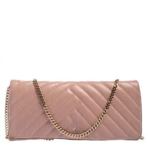 Carolina Herrera Old Rose Leather Flap Chain Clutch