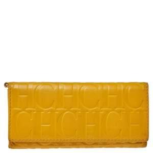 Carolina Herrera Yellow  Monogram Leather Continental Wallet