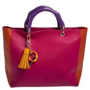 Carolina Herrera Multicolor Grained Leather Tassel Logo Tote