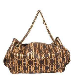 Carolina Herrera Brown/Metallic Gold Monogram Leather Chain Shoulder Bag