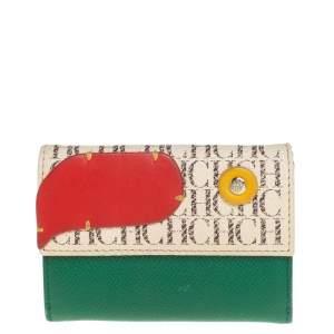 Carolina Herrera Multicolor Monogram Leather Compact Wallet