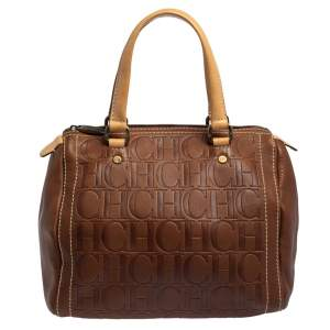 Carolina Herrera Brown Monogram Leather Andy Boston Bag