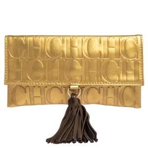 Carolina Herrera Metallic Gold Monogram Leather Tassel Clutch