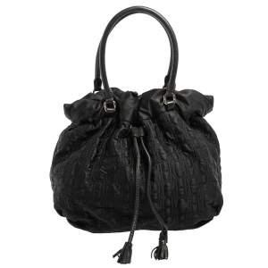 Carolina Herrera Black Embossed Nylon Bow Bucket Bag