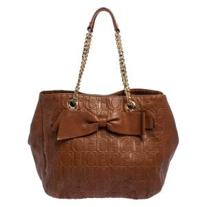 CH Carolina Herrera Brown Monogram Leather Audrey Tote