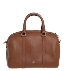 Carolina Herrera Brown Textured Leather Mini Andy Boston Bag
