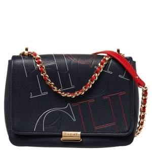 CH Carolina Herrera Navy Blue Leather Flap Shoulder Bag