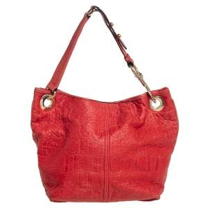 CH Carolina Herrera Red CH Embossed Leather Expandable Hobo