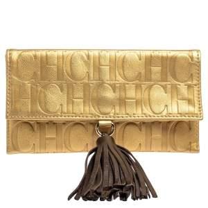 Carolina Herrera Gold Monogram Leather Tassel Clutch