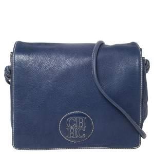 CH Carolina Herrera Blue Leather Flap Crossbody Bag