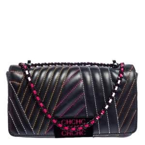 CH Carolina Herrera Black Quilted Leather Small Shoulder Bag