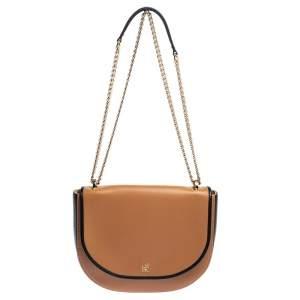 Carolina Herrera Brown/Black Leather Flap Chain Shoulder Bag