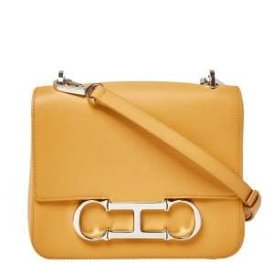 CH Carolina Herrera Mustard Leather Initials Insignia Shoulder Bag