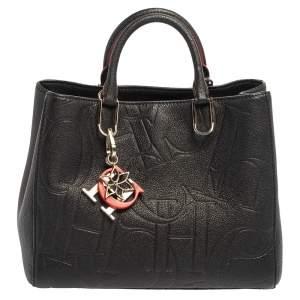 CH Carolina Herrera Black Embossed Leather Charm Tote