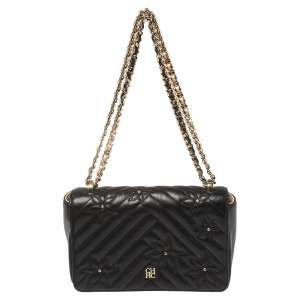 CH Carolina Herrera Black Quilted Floral Leather Flap Chain Shoulder Bag