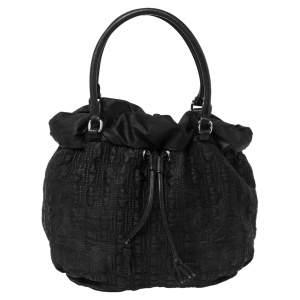 CH Carolina Herrera Black Monogram Nylon Drawstring Shoulder Bag