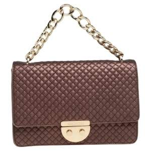 Carolina Herrera Metallic Brown Quilted Leather Flap Convertible Shoulder Bag
