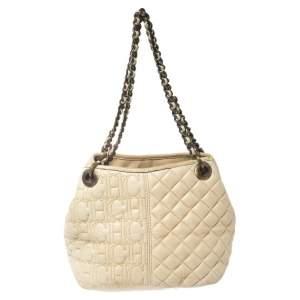 Carolina Herrera Cream White Quilted Monogram Leather Chain Tote