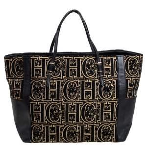 CH Carolina Herrera Black/Gold Leather, Fabric Tote