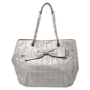 CH Carolina Herrera Silver Embossed Leather Audrey Tote