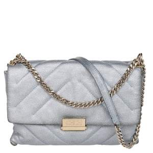 CH Carolina Herrera Metallic Grey Quilted Leather Flap Shoulder Bag