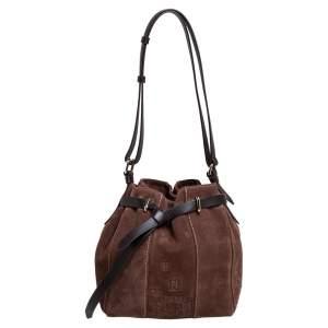 Carolina Herrera Brown Embossed Suede and Leather Bow Bucket Bag