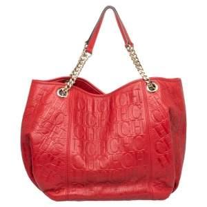 CH Carolina Herrera Red Monogram Embossed Leather Chain Handle Tote
