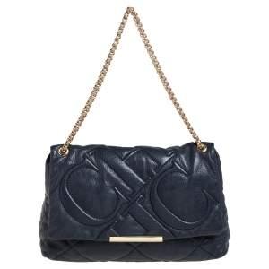 CH Carolina Herrera Black CH Embossed Leather Flap Chain Shoulder Bag
