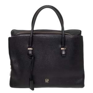 CH Carolina Herrera Black Leather Zip Satchel