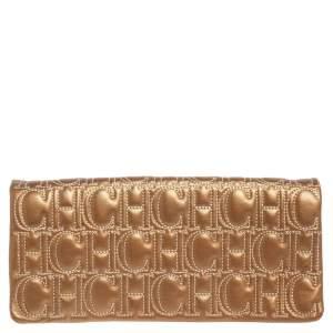 CH Carolina Herrera Gold Monogram Leather Clutch
