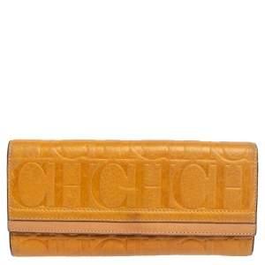 CH Carolina Herrera Yellow Monogram Leather Continental Wallet