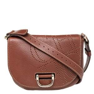 CH Carolina Herrera Brown Leather Flap Crossbody Bag