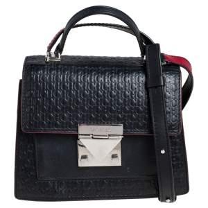 CH Carolina Herrera Black Monogram Leather Carry On Top Handle Bag