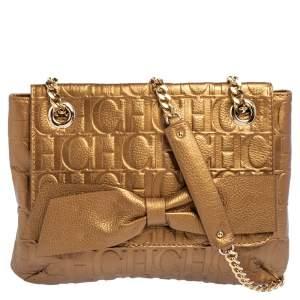 CH Carolina Herrera Gold Monogram Leather Audrey Shoulder Bag